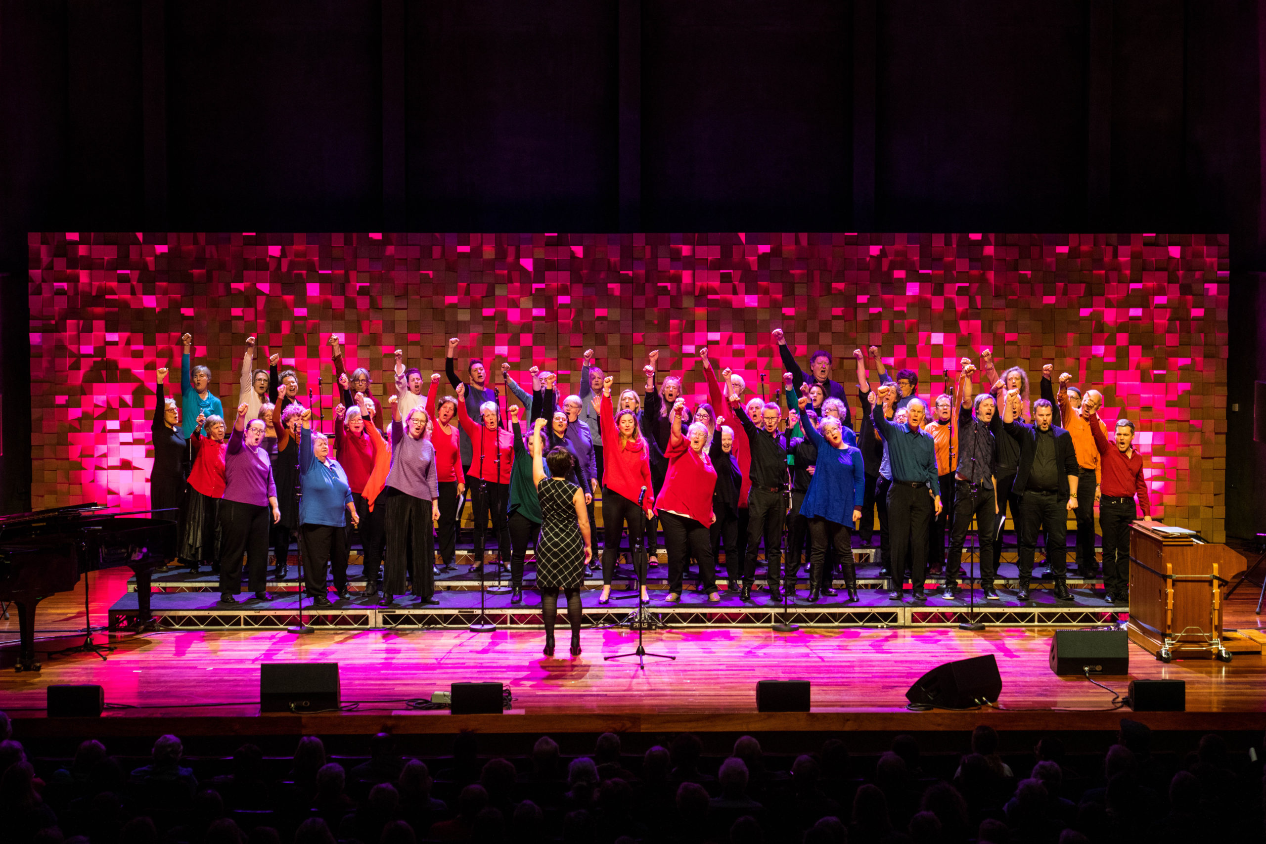 singers punching hands in air in triumph
